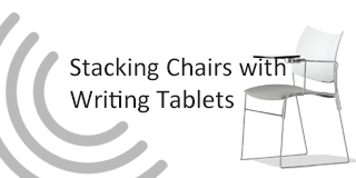 stacking chairs with writing tablets button